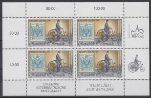 WIPA 2000 Vienna stamp exhibition mini sheet, WIPA 2000 Bécs Bélyegkiállítás kisív, WIPA 2000 Markenausstellung in Wien Kleinbogen
