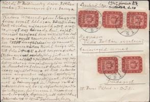 1946 (21. díjszabás) távolsági levelezőlap 5 x 50000 milpengő bérmentesítéssel