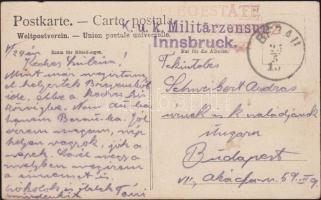 1915 Tábori képeslap bezani tábori kórházból