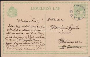 1914 Díjjegyes levelezőlap FADD TOLNA M.-Budapest