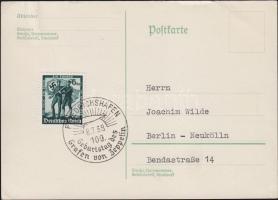1938 Levelezőlap Zeppelin 100. születésnapi bélyegzéssel