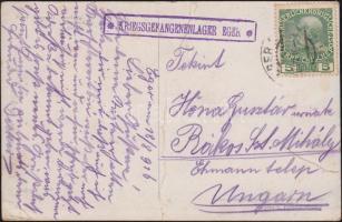 1916 Képeslap KRIEGSGEFANGENENLAGER EGER - Rákosszentmihály (szakadt, hajtott)