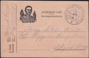 1918 Tábori lap az Erzsébet királyné szanatóriumból