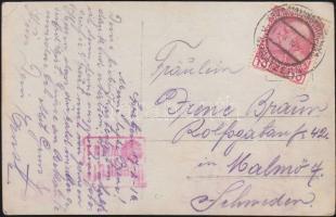 1916 Képeslap hadifogolytáborból Svédországba KRIEGSGEFANGENENLAGES SPRATZERN b