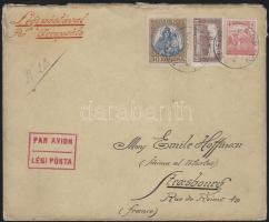 1922 (4. díjszabás) Légi levél Franciaországba Koronás Madonna 50K valamint Arató és parlament bélyegekkel bérmentesítve / Mi 322 + additional franking on airmail cover to France