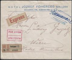 1922 (4. díjszabás) Expressz ajánlott légi levél Bécsbe Koronás Madonna 50K + Arató és Parlament bérmentesítéssel / Registered express airmail cover, franked with 50K Madonna stamp + Harvester and Parliament stamps, to Vienna