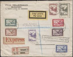 1927 Expressz ajánlott légi levél Budapest-Köln irányító bélyegzéssel Liverpoolba / Registered express airmail cover with Budapest-Köln airmail cancellation to Liverpool