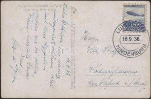 1936 LZ 129 Friedrichshafen - Frankfurt repülése, képeslap fedélzeti bélyegzéssel / Postcard with board cancellation