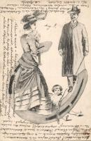 Couple with Cupid, hoeseshoe, B.K.W.I. 695/5., Pár Kupidóval, lópatkó, B.K.W.I. 695/5.