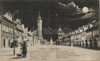 Domazlice, Pozdrav; main street at night