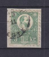 1871 Réznyomat 3kr, varratvonal az alsó bélyegközben