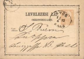 1872 Díjjegyes levelezőlap GYŐR RAAB-Pest