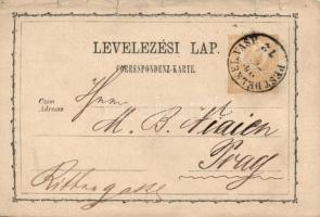 1872 Díjjegyes levelezőlap PEST DÉLKEL. VASP.-Prag