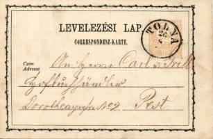 1873 Díjjegyes levelezőlap TOLNA-Pest