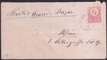1875 Díjjegyes boríték / PS-cover NAGY-SINK - NAGYSZBEN - WIEN