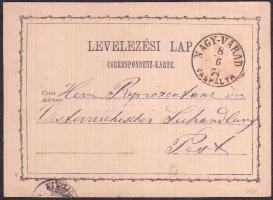1874 Díjjegyes levelezőlap / PS-card NAGY-VÁRAD VASPÁLYA