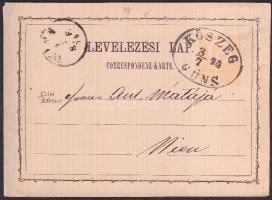 1874 Díjjegyes levelezőlap / PS-card KÖSZEG GÜNS - WIEN