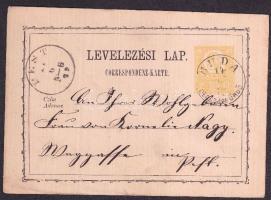 1872 Díjjegyes levelezőlap / PS-card BUDA CSÁSZÁRFÜRDŐ - PEST