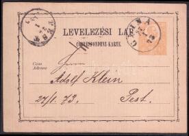 1873 Díjjegyes levelezőlap / PS-card GLINA - PEST
