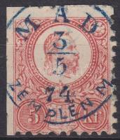 1871 Réznyomat 5kr, 2 oldalon ollóval vágva / Mi 10 cut with scissor, kék / blue MÁD ZEMPLÉN M.