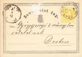 1870 Díjjegyes levelezőlap / PS-card NAGY-MIHÁLY ZEMPL. MEGYE - PEST