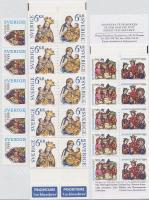 Christmas stripe of 5 + 2 stamp-booklets, Karácsony ötöscsík + 2 bélyegfüzet, Weihnachten Fünferstreifen + 2 Markenheftchen