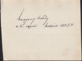 1927 Magyary Antal madridi kir. ügyvivő aláírása lapon