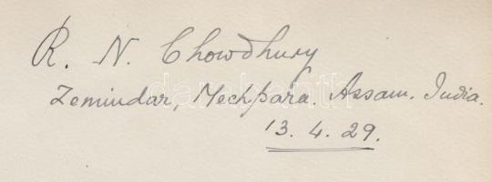1929 R. N. Chowdhury földesúr Machpara, Assam eredeti aláírása / 1929 Original signature of Zamindar R. N. Chowdhury, Machpara, Assam, 17x13cm