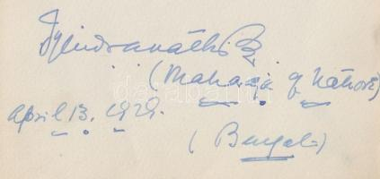 1929 Sardar Gurdit Signh Sandhanwalia eredeti aláírása / 1929 Original signature of Lahore, India mahraja Sardar Gurdit Signh Sandhanwalia 17x13 cm
