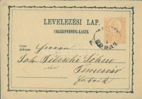 1875 Díjjegyes levelezőlap LUGOS KRASSÓ M-Temesvár