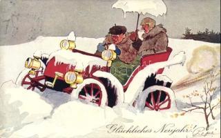 New Year, automobile, winter, B.K.W.I. 2666-5. Újév, autó télen, humor, B.K.W.I. 2666-5.