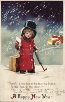 New Year, traveller child, automobile, litho s: Ellen H. Clapsaddle Újév, utazó gyerek, automobil, litho s: Ellen H. Clapsaddle