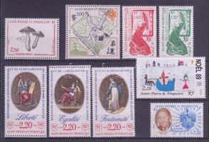 9 diff. stamps with one set, 9 klf sor, közte 1 sor, 9 verschiedene Marken mit einem Satz