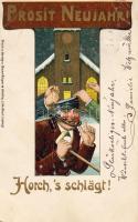 'Horch,'s schlägt!' New Year greeting card, litho