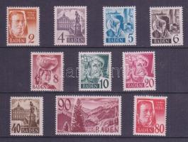 Baden 1948 Mi 28-37 (29, 33, 34 falcos/hinged)