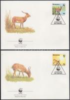WWF Antelopes set on 4 FDC-s, WWF Antilopok sor 4 FDC-n, Weltweiter Naturschutz: Wasserbock Satz an 4 FDC