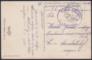 1916 Wladimir Wolynsky képeslap / postcard EP 135 + Sokal transit K.u.K. HEERESB. - Szombathely