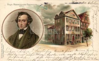 Felix Mendelssohn-Bartholdy and his home, Gebrüder Obpacher Serie 46. No. 18340. litho Felix Mendelssohn-Bartholdy és lakóháza, Gebrüder Obpacher Serie 46. No. 18340. litho
