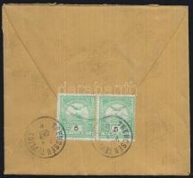 1914 Turul 5f pár levélen TRENCSÉN TEPLICZ - Drezda