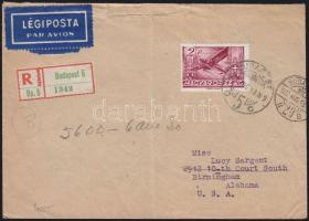 1937 Repülő 2P ajánlott légi levélen az USA-ba / Registered airmail cover to the USA