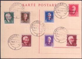 Albánia 1943 címzetlen felülnyomott díjjegyes levelezőlap bélyeges kiegészítéssel SHKODER-TREG