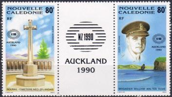 New Zealand stamp exhibition stripe of 3, New Zealand bélyegkiállítás hármascsík, New Zealand Markenausstellung Dreierstreifen