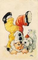 Clown, dog, artist signed, Bohóc, kutya