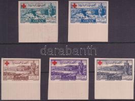 1947 Vöröskereszt vágott ívszéli sor Mi 377-381