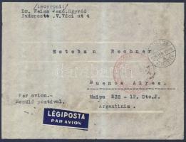 1938 Légi levél Argentínába 1936 Repülő 80f + 1P + Szent István 10f + Kormányzói arcképsor 2P bérmentesítéssel