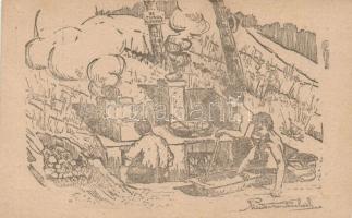 Hungarian scout group, artist signed 1922 Balatonaliga, 91. Turul cserkész konyha, szignózott