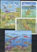 Ősállatok kisívsor + 2 blokk, Prehistoric animals 2 mini sheet set + 2 blocks, Prähistorische Tiere 2 Kleinbogensatz + 2 Blöcke