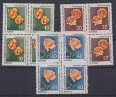 1961 Nemzetközi kertészeti kiállítás sor négyestömbökben Mi 854-856