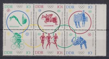 1964 Tokiói olimpia ívszéli hatostömb Mi 1039-1044