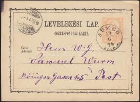 1874 Díjjegyes levelezőlap (festékfolt a kr k betűjében) SÜMEG ZALA M - BUDAPEST